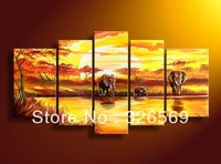 Free shipping sunset river elephant art Home Decoration100% handmade  landscape oil painting valentine's day