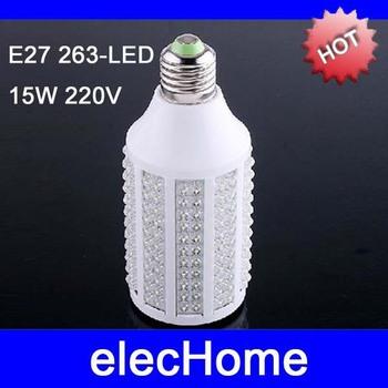 Hot Selling  Wholesale 263 LEDS E27 15W 220V Pure White Warm White Light LED Corn Light Bulb Lamp Lighting Free Shipping