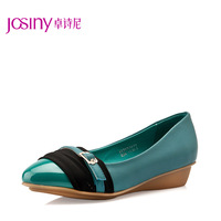 2013 women's spring shoes pointed toe color block sweet fashion shallow mouth low-heeled wedges single shoes