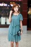 Drop Shipping! Summer Fashion Womens Plus Size Clothing Petal Short-sleeve Dresses with Pockets/XL-XXXXL