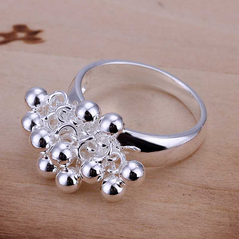 Free shipping 925 sterling silver jewelry ring fine nice grape bead ring hot sale top quality wholesale and retail SMTR016(China (Mainland))