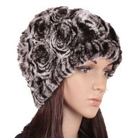 Rex rabbit hair hat women's fur knitted hat winter thermal