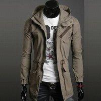 Free Shipping !!Men's jackets Men's long coat casual jacket   Long Hooded jacket casual jacket
