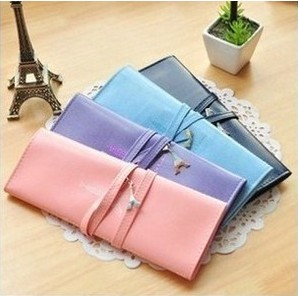 Romantic small fresh roll pencil eiffel tower leather pencil bag stationery storage bag box(China (Mainland))