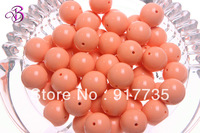 Free shipping 105pcs Light Orange Color 20mm Round Acrylic Solid Beads Chunky acrylic beads For Girls Bubblegum necklace making.