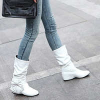 Spring and autumn women's boots bow elevator low-heeled boots white boots martin boots plus size customize