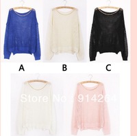 Womens Loose Hollow Asymmetric Fishnet Knit Pullover Jumper Sweater Knitwear   free shipping