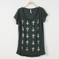 New, summer 2013, easing plus size T - shirt T - shirt short sleeves in Europe and crosses, free delivery