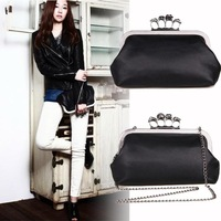 Free Shipping SunnyFair Women Lady Skulls Knuckle Black Duster Clutch/Evening Bag PU Leather Ring Bag Clutch Purse Handbag