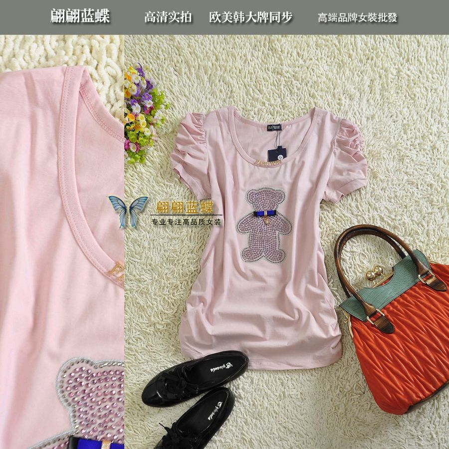 Bj 2013 spring and summer bucenu jeans princess sleeve rhinestones bear pleated sweep 100% cotton short-sleeve T-shirt 6716(China (Mainland))