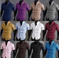 HOT SELL Men's Casual Slim fit Stylish Dress Short Sleeve Shirts high quality men's designer shirts 16 colors Asia S-XXL C294