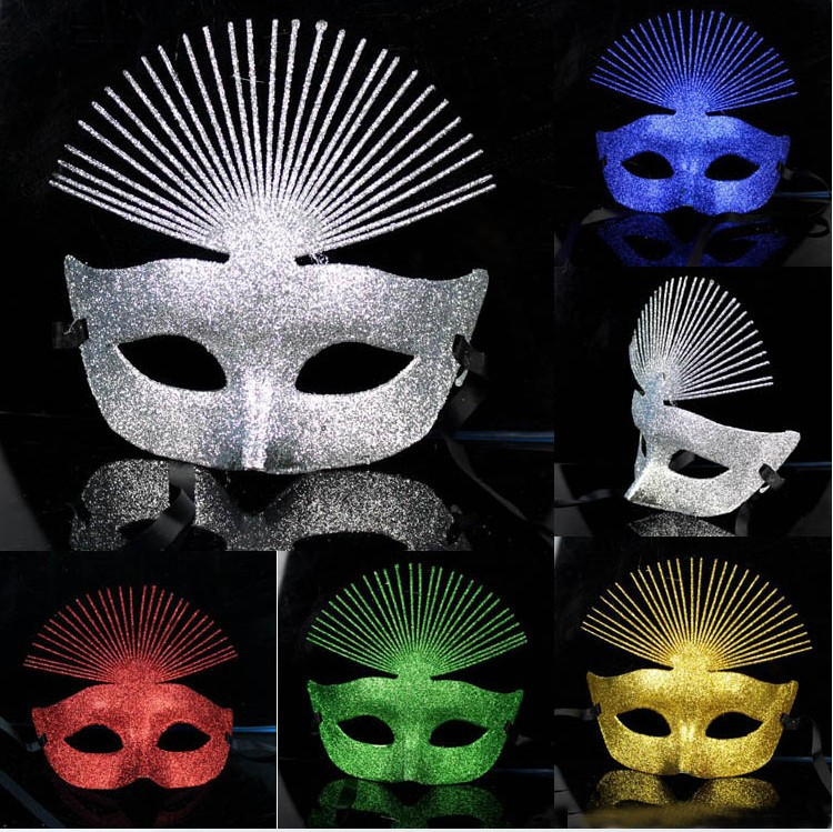 Free shipping Fashion HandMade Party Dance Mask Costume Venetian Halloween Masquerade peacock coloured drawing(China (Mainland))