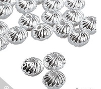FREE SHIPPING  4mm*6MM 100PCS/LOT SWIRL METAL BEADS SILVER Plated,CADIMUM FREE!!!