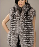 Free Shippping Genuine Silver Fox For Strips Vest Fur Gilet Coat Garment Outwear For Ladies Wholesale Price