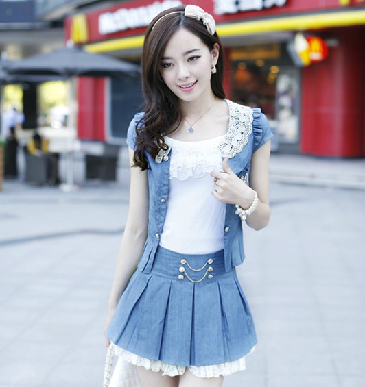 Free shipping 2013 fashion new women summer ol piece set denim one-piece dress outerwear hot sale(China (Mainland))