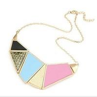 Fashion fashion square all-match geometry irregular oil short design necklace multicolour combination