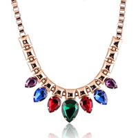 Fashion fashion female crystal necklace colorful chain ol elegant all-match accounterment