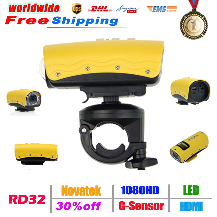 RD32 Sports HD Waterproof Camera Mini DV Driving Vibration Alert 1080P 20M Water resistant free shipping(China (Mainland))