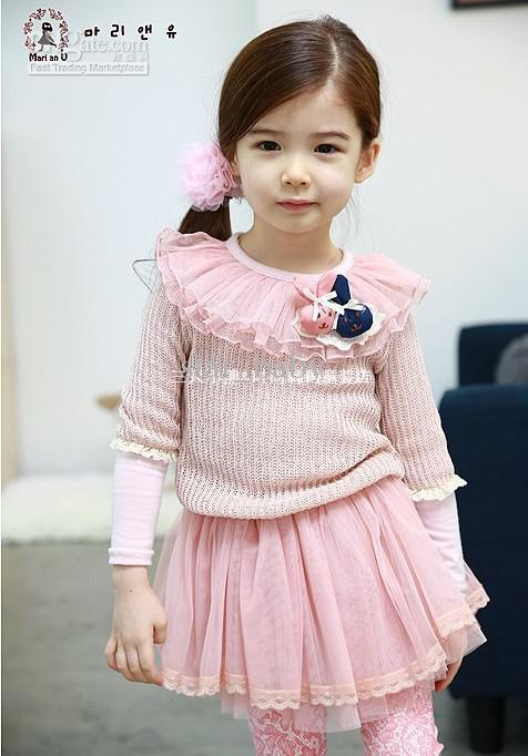 2013 Spring Pink Lace Bunny Long Sleeve Dress Toddler Casual Tiered Dresses Girls Clothing 7566(China (Mainland))