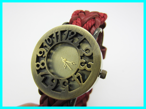2013 New Arrival Cow Leather Roman Cow Leather Qurtz Winding women Watches Christmas Holiday Gift Black/Blue/Brown/Red/Orange(China (Mainland))