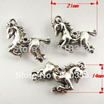 Whosesale  Antique Style Silver Tone Cute Running Horse Alloy Pendant Charm 35PCS 30573