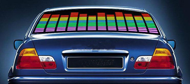 Free shipping Sound equalizer Activated glow light Car LED Stickers beautifully packaged H-quality 90 * 10cm(China (Mainland))