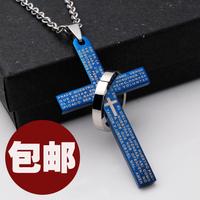 Fashion personality male titanium accessories 316l cross circle necklace male