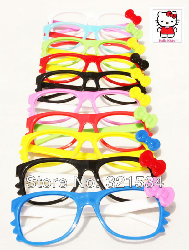Free Shipping Hello Kitty Eyeglasses Frames Girls Glasses Cute Beard Cat Glasses Frames High Quality [Without Lens](China (Mainland))