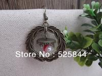 Free Shiping!  10set/lot DIY earing/15mm glass globe with bronze jewelry accessory set glass globe glass vial glass bubble