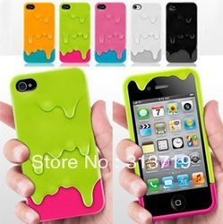 Drop Shipping New 3D Melt Carbonate Melt Skin ice-Cream Hard Case Cover for iPhone 4 4G 4GS 4S AJ1290 Free Shipping(China (Mainland))
