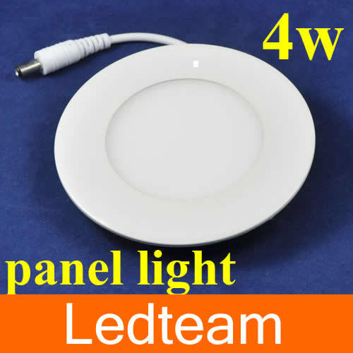 100p/lot high quality Acrylic LED Round Panel Light 4W 85-265V output 12v 320 Lumen Warm white and White Selective with Adapter(China (Mainland))