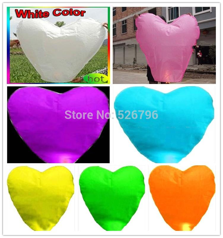 Free shipping 10PCS/lot different color Heart Shape Chinese Sky Lanterns Wishing Balloon Birthday Wedding(China (Mainland))