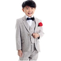 free shipping 2013 new high quality children wedding formal wear 3-12 years boys clothing set grey retail wholesale