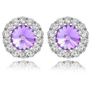 Accessories quality crystal circle stud earring czech diamond Ruyi ring earrings female(China (Mainland))