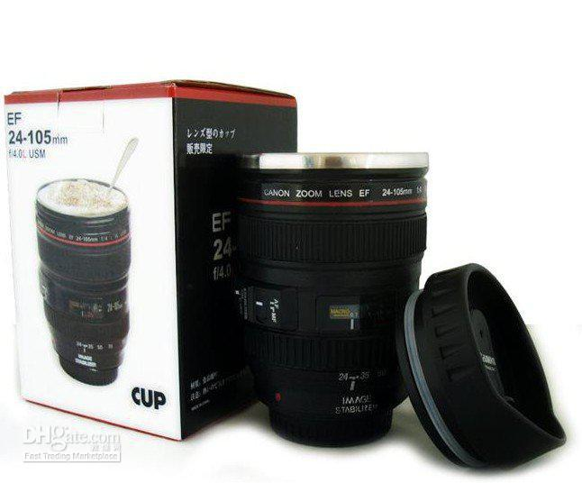 Freeshipping by CPAM stainless steel liner travel thermal Coffee camera lens mug cup with hood lid 4(China (Mainland))