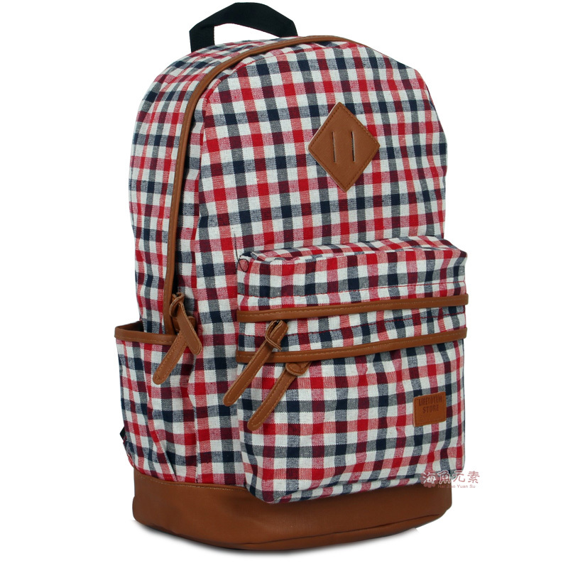 Free shipping 2013 fashion hot sale backpack school bag backpack large capacity travel bag laptop bag student bag plaid(China (Mainland))