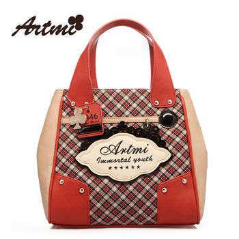 Artmi2013 spring fashion dimond plaid fashion rivet small bag handbag cross-body bucket handbag