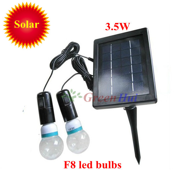 2013New 3.5W solar Power Supply System 1pcs solar panels and 2pcs F8 LED bulbs courtyard outdoor indoor lighting free shipping(China (Mainland))