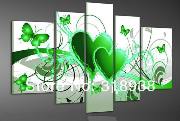 Hand-painted group oil painting green heart love butterfly/wall art/ home decoration mix order/sa-1634(China (Mainland))