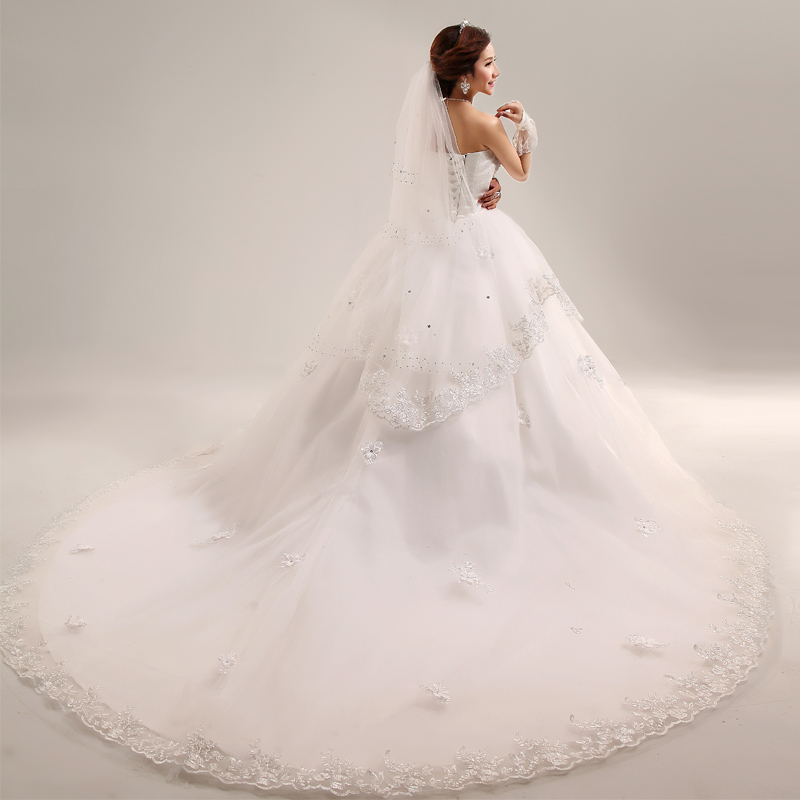 Bride 2013 train bridal wedding dress quality laciness lace big train(China (Mainland))