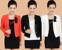 Free Shipping 2014 Spring And Autumn Women's Formal Elegant Puff Sleeve Blazer Short Jacket Women's Plus Size L/XL/3XL/4XL/5XL