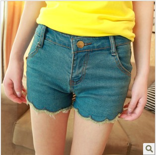 Wave edge whisker denim shorts female k23(China (Mainland))