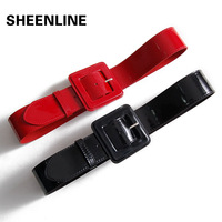 Sheenline fashion pin buckle female japanned leather cowhide genuine leather wide cummerbund belt strap