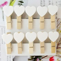 Creative cute Antique lovely Antique lovely Special toys gifts white color Heart Wooden Clip.Mini Bag Clip.Paper Clip.