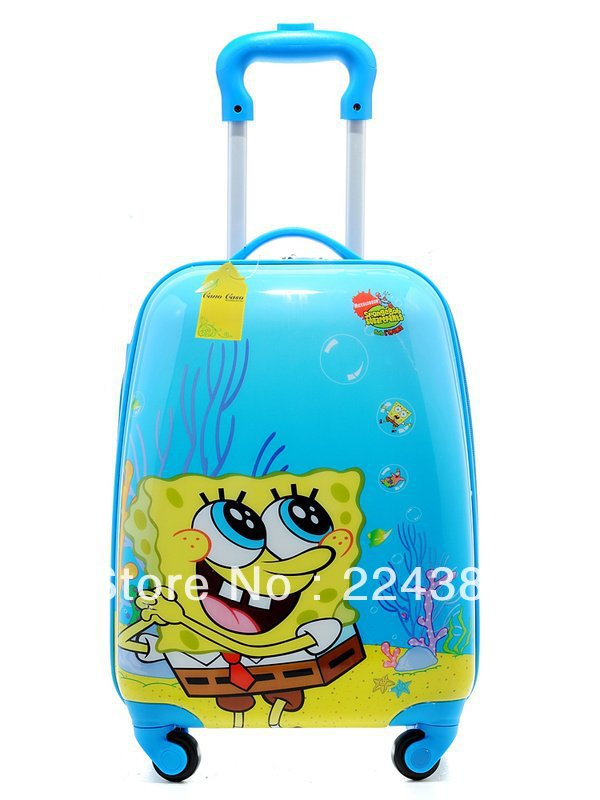 "Child kid rolling Luggage Bag Trolley Roller handbag bag 18"" Spongebob(China (Mainland))"
