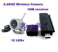 Free Shipping 2.4G 12 IR lED  Night Vision Wireless IR Mini CCTV Camera+ USB Wireless DVR