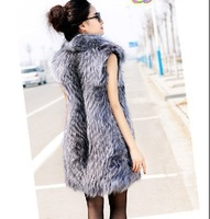 Free shipping Genuine silver fox fur Vest Gilet Coat fur Womens Waistcoat Clothing Long fur Outwear Jackets 3XL 4XL