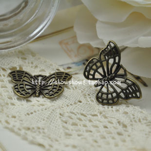 Diy accessories carved cutout butterfly vintage pendant zipper head accessories materials(China (Mainland))