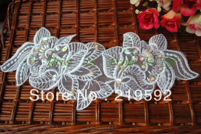 Free Shipping Wedding Supplies, White Beading Flower Lace Patch Decoration, Handmade Embroidery Beaded Flower Patches(China (Mainland))