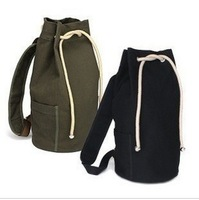 Free shipping Men 2013 canvas bag canvas drawstring bucket bag student backpack
